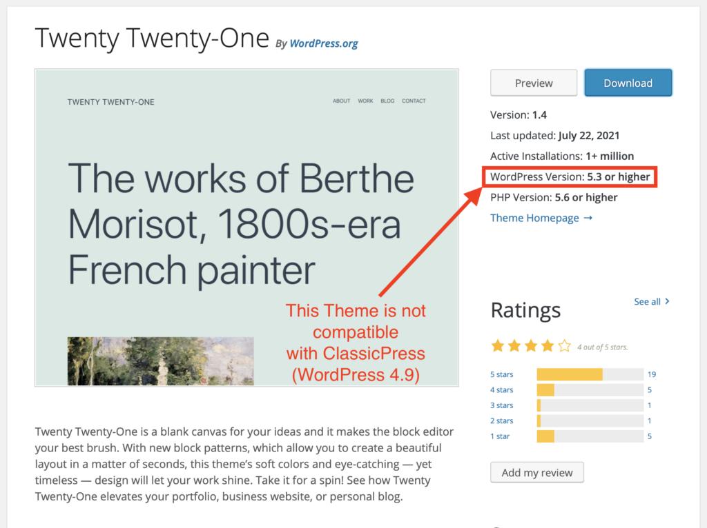 An Incompatible WordPress Theme
