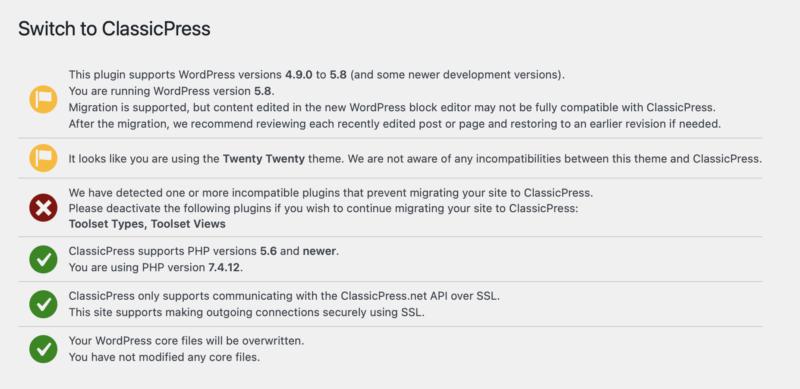 ClassicPress Migration Screen